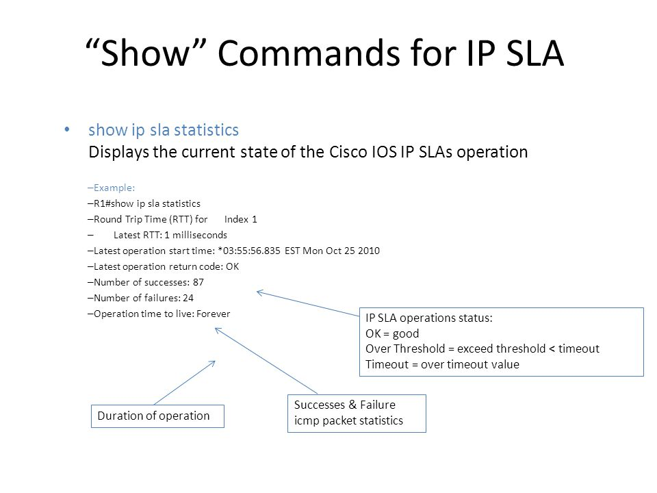 Show Commands for IP SLA show ip sla configuration The output will list the supported operations – Example: – R1#sh ip sla configuration – Entry number: 1 – Type of operation to perform: icmp-echo – Target address/Source address: 212.23.1.1/200.1.1.2 – Operation timeout (milliseconds): 500 – Schedule: – Operation frequency (seconds): 3 – Next Scheduled Start Time: Start Time already passed – …..
