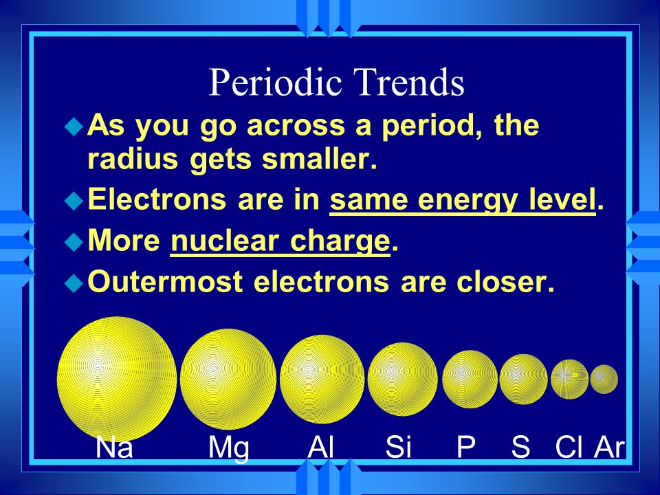 Size of Isoelectronic ions u Isoelectronic ions that have more protons would be smaller.
