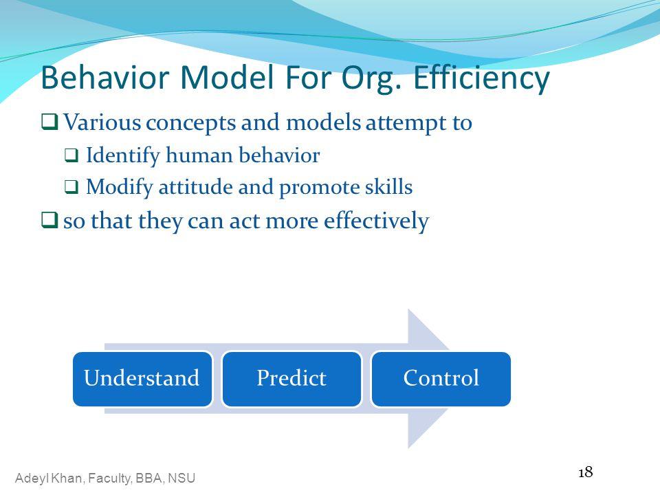 Adeyl Khan, Faculty, BBA, NSU Behavior Model For Org.