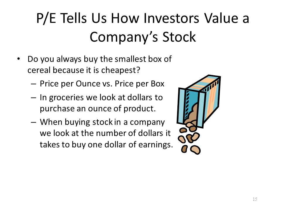 P/E Tells Us How Investors Value a Company's Stock Do you always buy the smallest box of cereal because it is cheapest.