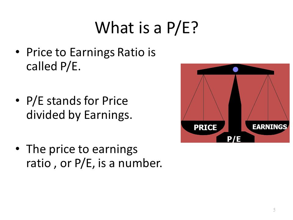 What is a P/E. Price to Earnings Ratio is called P/E.
