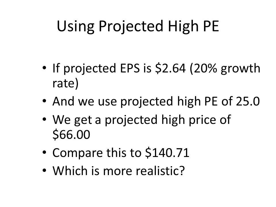 Using Projected High PE If projected EPS is $2.64 (20% growth rate) And we use projected high PE of 25.0 We get a projected high price of $66.00 Compare this to $140.71 Which is more realistic
