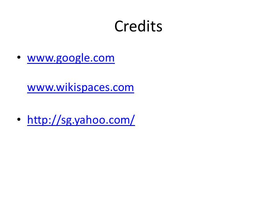 Credits www.google.com www.wikispaces.com www.google.com www.wikispaces.com http://sg.yahoo.com/