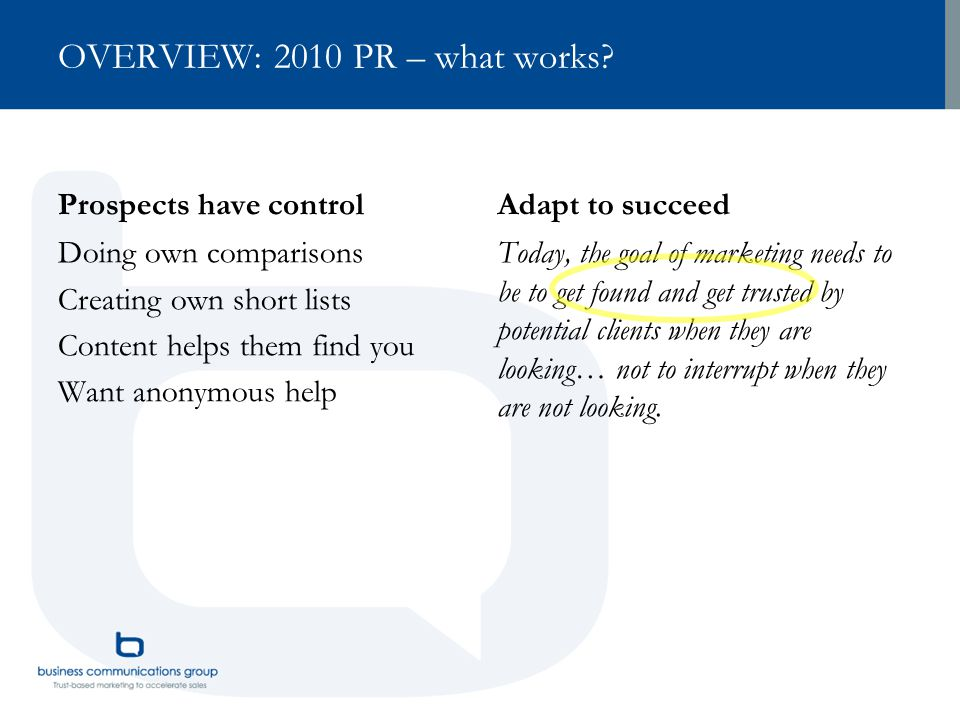 OVERVIEW: 2010 PR – what works.