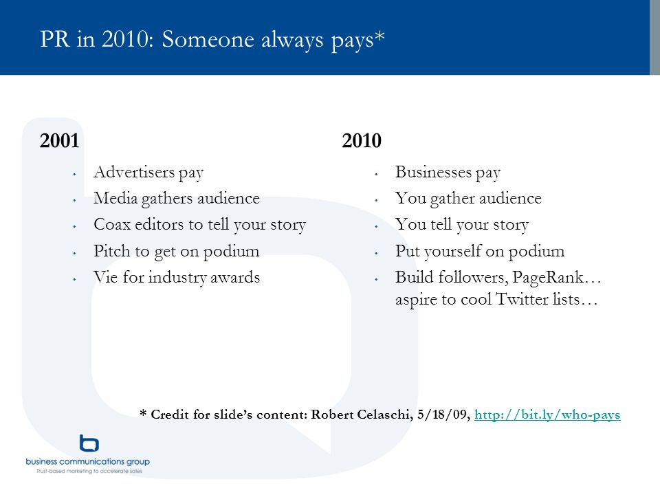 PR in 2010: Someone always pays* 2001 Advertisers pay Media gathers audience Coax editors to tell your story Pitch to get on podium Vie for industry a