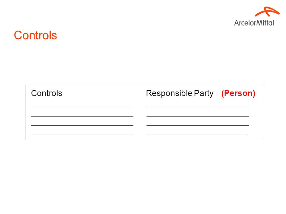 Controls Responsible Party (Person) ______________________ ______________________ ______________________