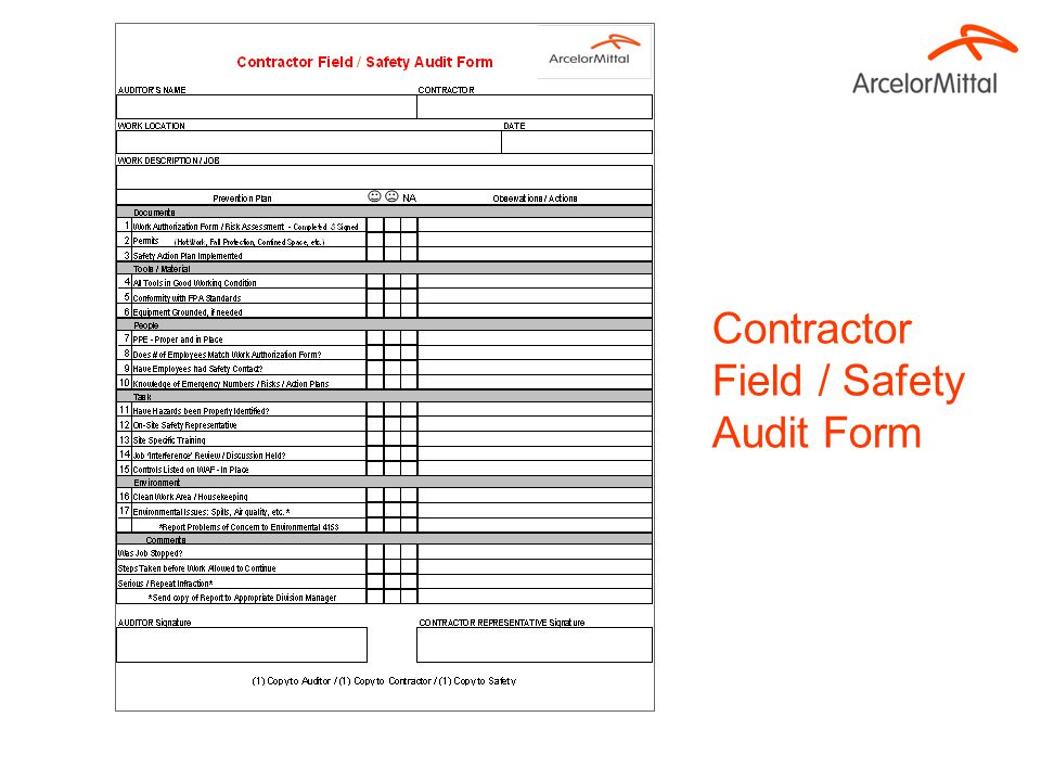 Contractor Field / Safety Audit Form