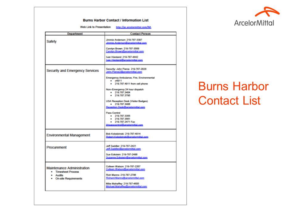 Burns Harbor Contact List