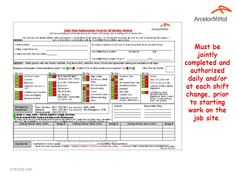 Must be jointly completed and authorized daily and/or at each shift change, prior to starting work on the job site. 6/18/2012 (VB)