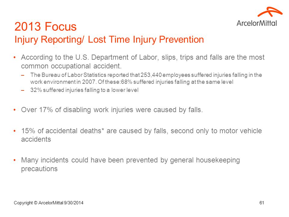 According to the U.S. Department of Labor, slips, trips and falls are the most common occupational accident. –The Bureau of Labor Statistics reported