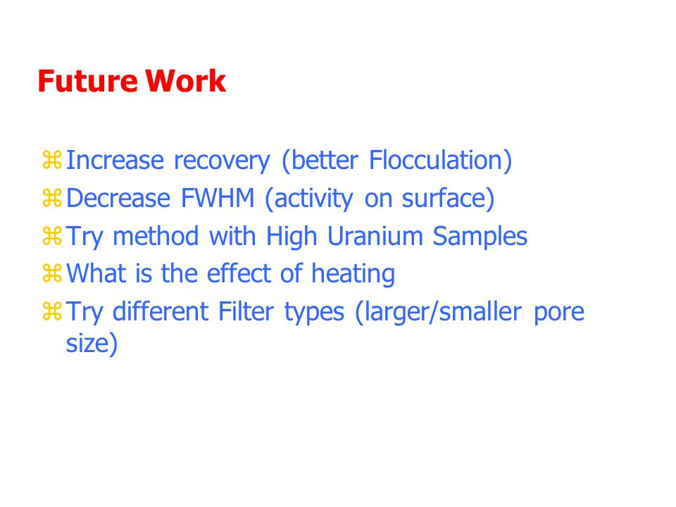 Future Work zIncrease recovery (better Flocculation) zDecrease FWHM (activity on surface) zTry method with High Uranium Samples zWhat is the effect of heating zTry different Filter types (larger/smaller pore size)