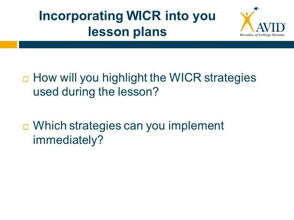 Incorporating WICR into you lesson plans  How will you highlight the WICR strategies used during the lesson.