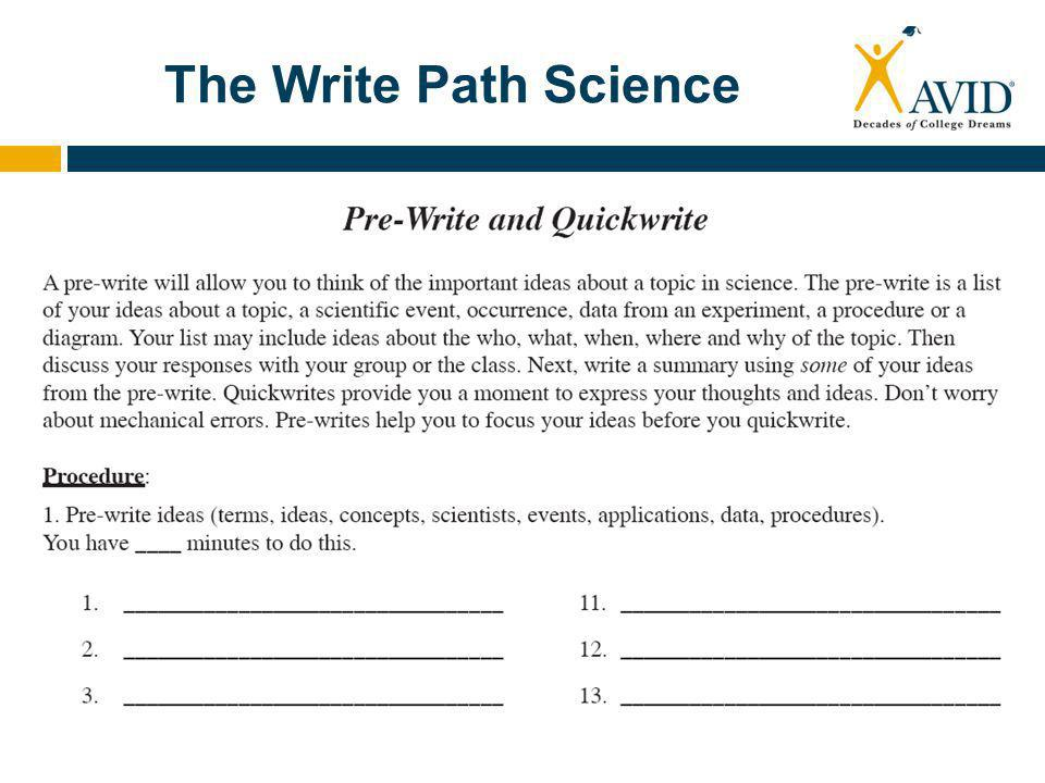 The Science Interactive Notebook  Uses a three ring notebook that will fit in the AVID student Binder  Students keep class work on the right hand side of the page  Reflections and processing on the left hand side of the page