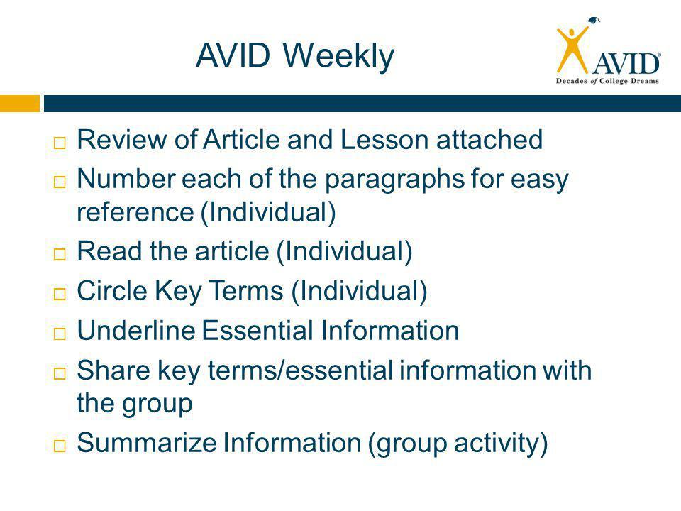 AVID Weekly  Review of Article and Lesson attached  Number each of the paragraphs for easy reference (Individual)  Read the article (Individual)  Circle Key Terms (Individual)  Underline Essential Information  Share key terms/essential information with the group  Summarize Information (group activity)