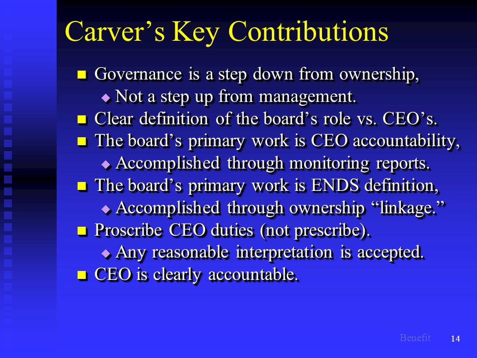 14 Carver's Key Contributions Governance is a step down from ownership, Governance is a step down from ownership,  Not a step up from management.