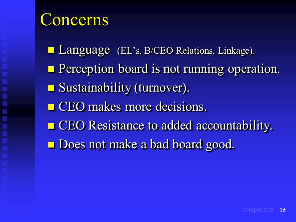 16 Concerns Language (EL's, B/CEO Relations, Linkage). Language (EL's, B/CEO Relations, Linkage). Perception board is not running operation. Perceptio