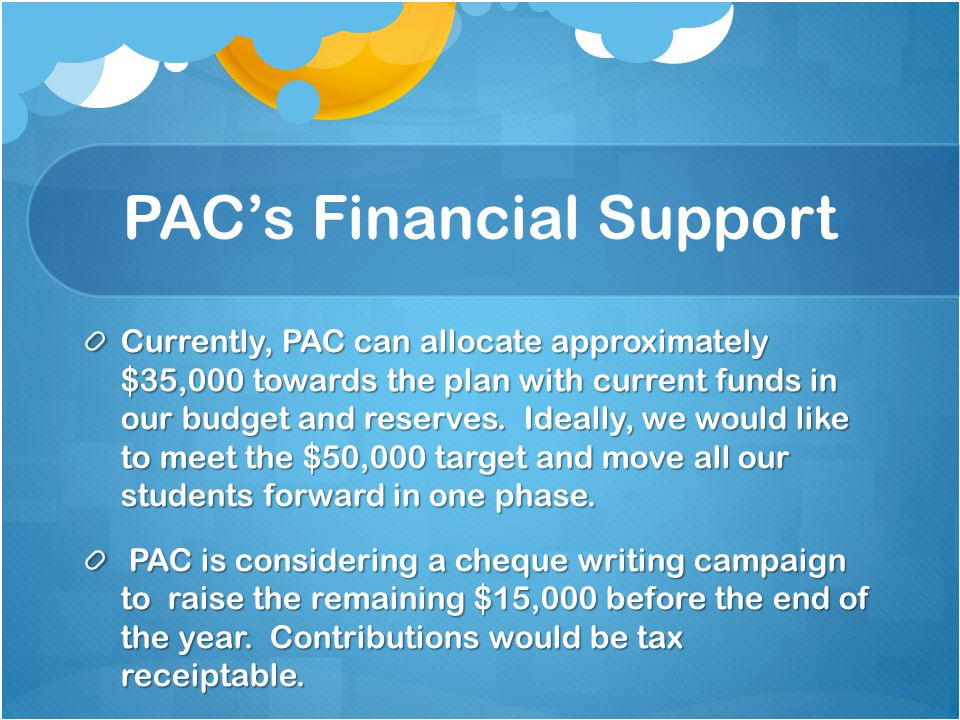 PAC's Financial Support Currently, PAC can allocate approximately $35,000 towards the plan with current funds in our budget and reserves. Ideally, we