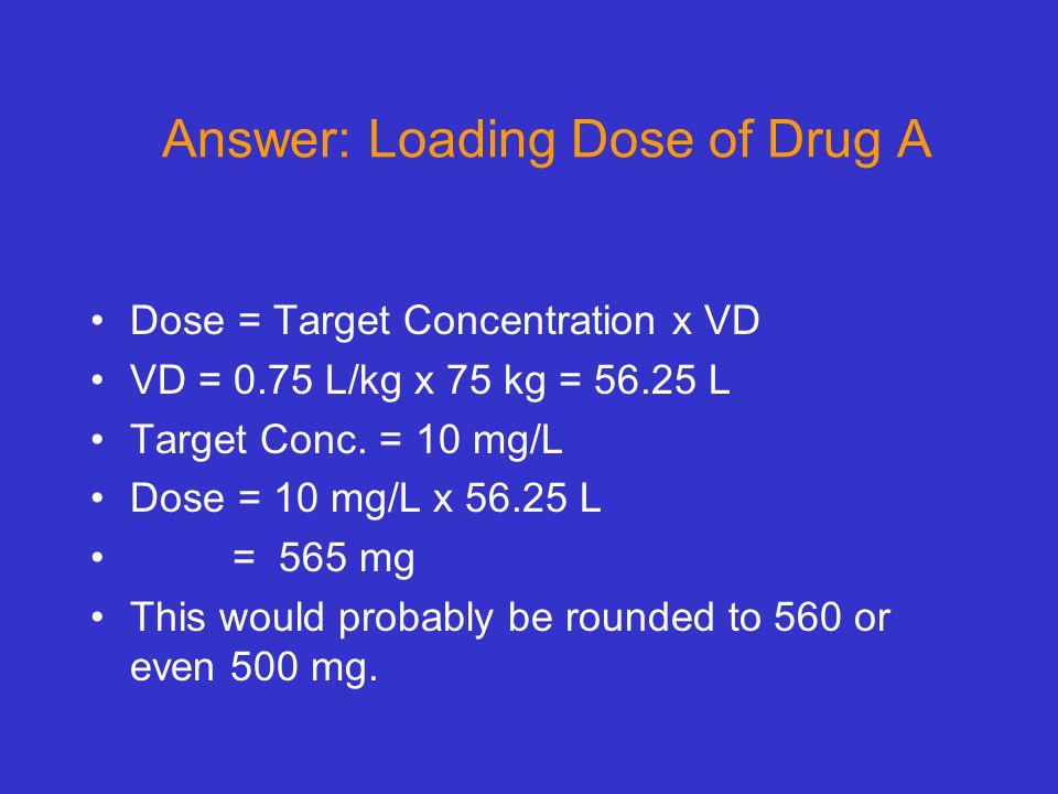 Answer: Loading Dose of Drug A Dose = Target Concentration x VD VD = 0.75 L/kg x 75 kg = 56.25 L Target Conc. = 10 mg/L Dose = 10 mg/L x 56.25 L = 565