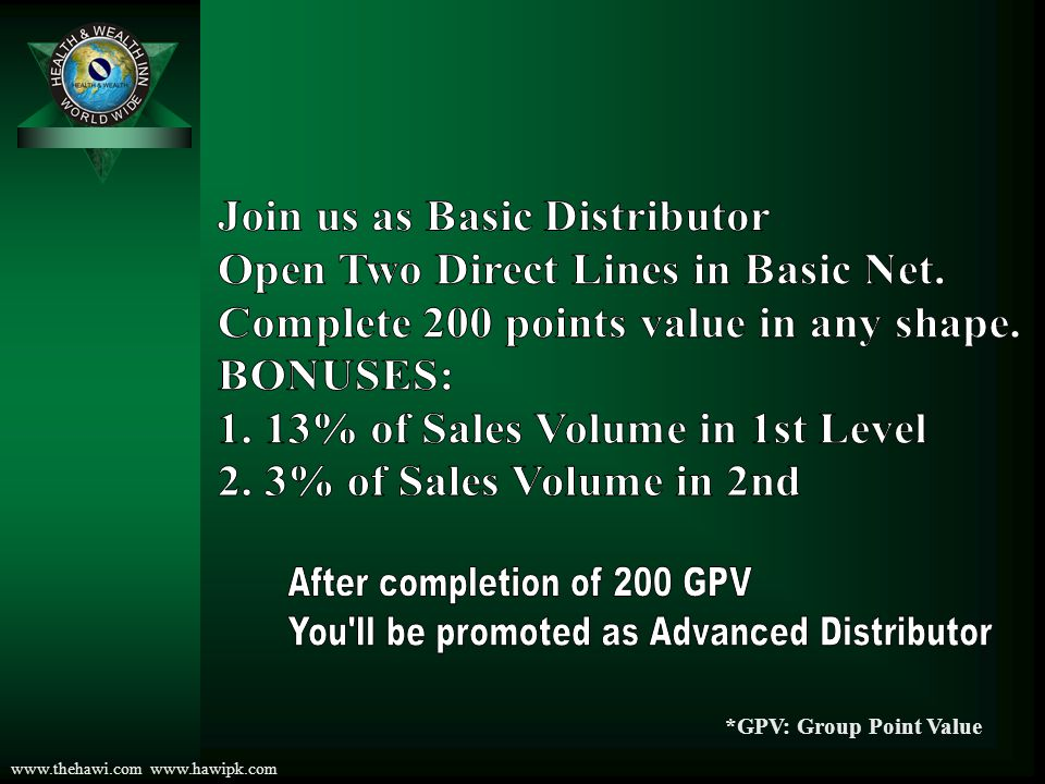 www.thehawi.com www.hawipk.com Distribution of Bonuses of Basic Net YOU B B B 1 st Level 13%= 9.75$ B mean: Basic Distributor You have to recommend only 1 person in each line you need only 2 Direct Down Lines, 200 points in any shape for promotion as Advanced Distributor You will get direct bonus: 1 st level: 13% of Base Amount If Gold: Share 100$ Base Amount for all the Calculations will be 75$ Points: 100