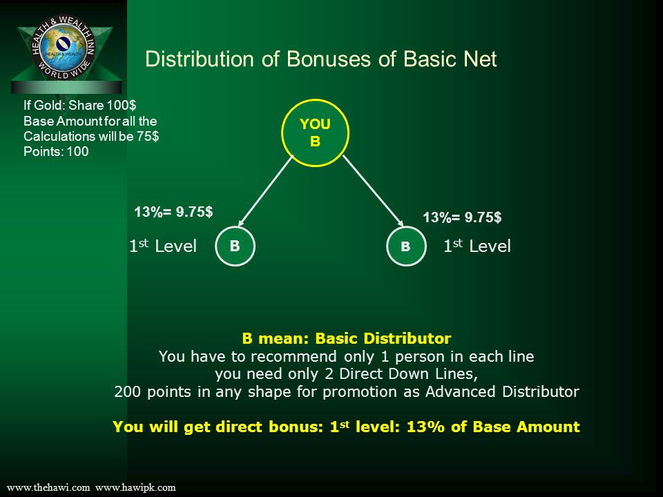 www.thehawi.com www.hawipk.com Distribution of Bonuses of Basic Net If Gold: Share 100$ Base Amount for all the Calculations will be 75$ Points: 100 YOU B B B 1 st Level 13% 9.75$ B BBB 2nd Level 3% 2.25$ B mean: Basic Distributor You have to recommend only 1 person in each line you need only 2 Direct Down Lines, 200 points in any shape for promotion as Advanced Distributor You will get direct and indirect bonus: 1st level: 13% and 2nd level: 3% of Base Amount