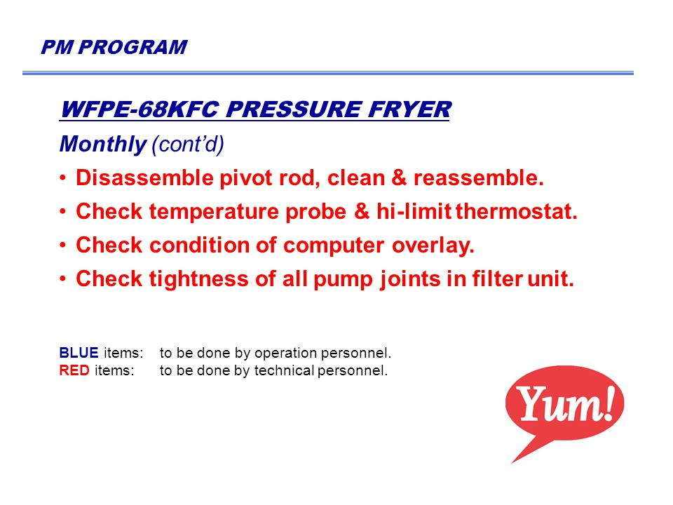 PM PROGRAM WFPE-68KFC PRESSURE FRYER Monthly (cont'd) Disassemble pivot rod, clean & reassemble.