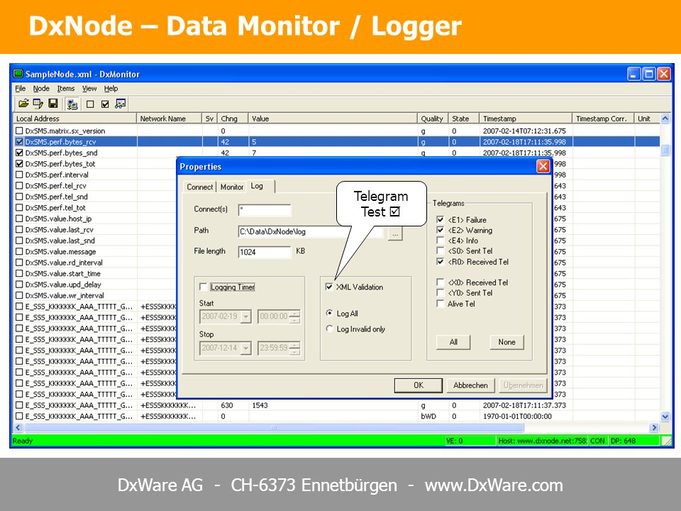 DxWare AG - CH-6373 Ennetbürgen - www.DxWare.com DxNode – Data Monitor / Logger Telegram Test 