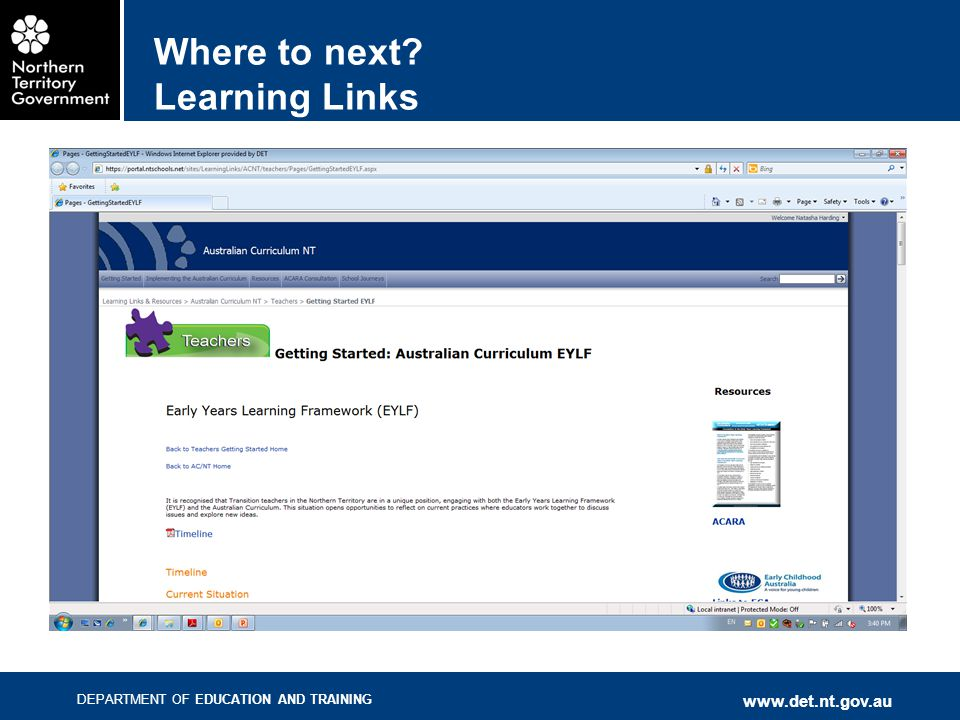 DEPARTMENT OF EDUCATION AND TRAINING www.det.nt.gov.au Where to next? Learning Links