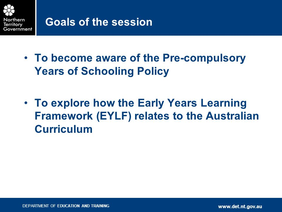 DEPARTMENT OF EDUCATION AND TRAINING www.det.nt.gov.au how what