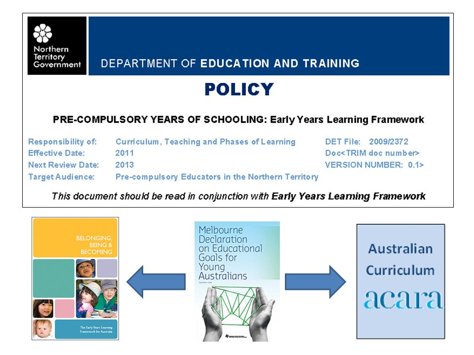 DEPARTMENT OF EDUCATION AND TRAINING www.det.nt.gov.au Policy Pre-Compulsory Years of Schooling: EYLF Scope Transition educators will use the Australian Curriculum/NT Curriculum Framework in conjunction with the EYLF.
