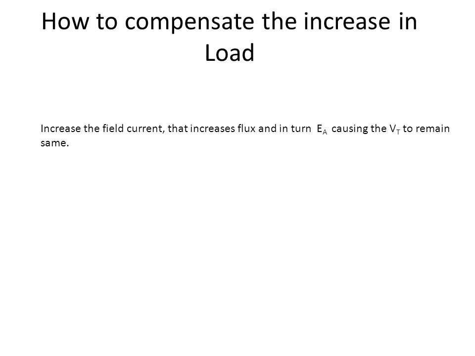 How to compensate the increase in Load Increase the field current, that increases flux and in turn E A causing the V T to remain same.