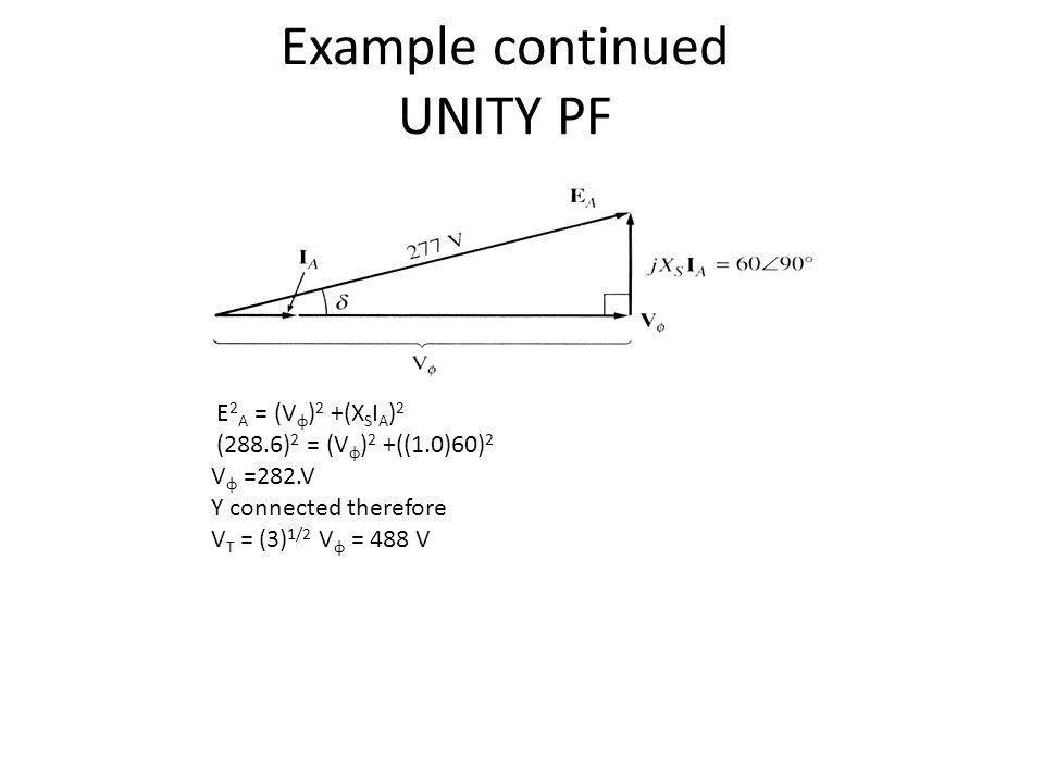 Example continued UNITY PF E 2 A = (V φ ) 2 +(X S I A ) 2 (288.6) 2 = (V φ ) 2 +((1.0)60) 2 V φ =282.V Y connected therefore V T = (3) 1/2 V φ = 488 V