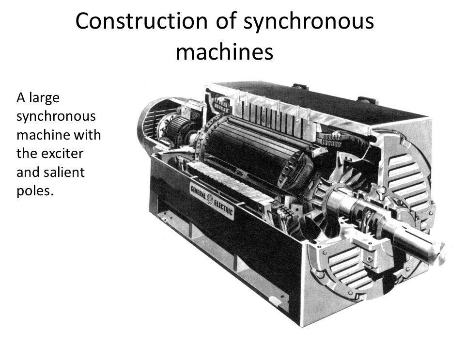 Construction of synchronous machines A large synchronous machine with the exciter and salient poles.