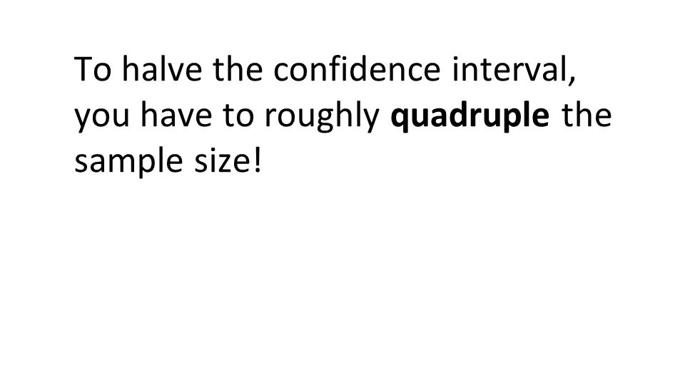 To halve the confidence interval, you have to roughly quadruple the sample size!