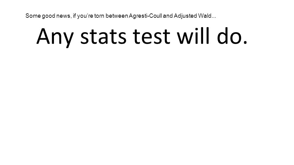 Any stats test will do. Some good news, if you're torn between Agresti-Coull and Adjusted Wald...