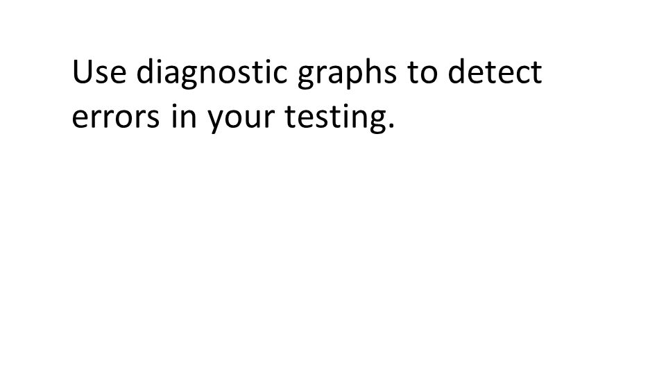 Use diagnostic graphs to detect errors in your testing.