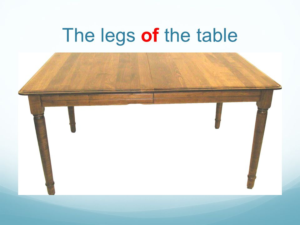 The legs of the table