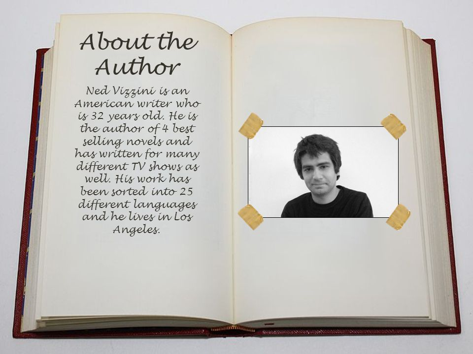 About the Author Ned Vizzini is an American writer who is 32 years old.
