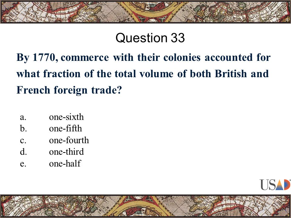 By 1770, commerce with their colonies accounted for what fraction of the total volume of both British and French foreign trade.