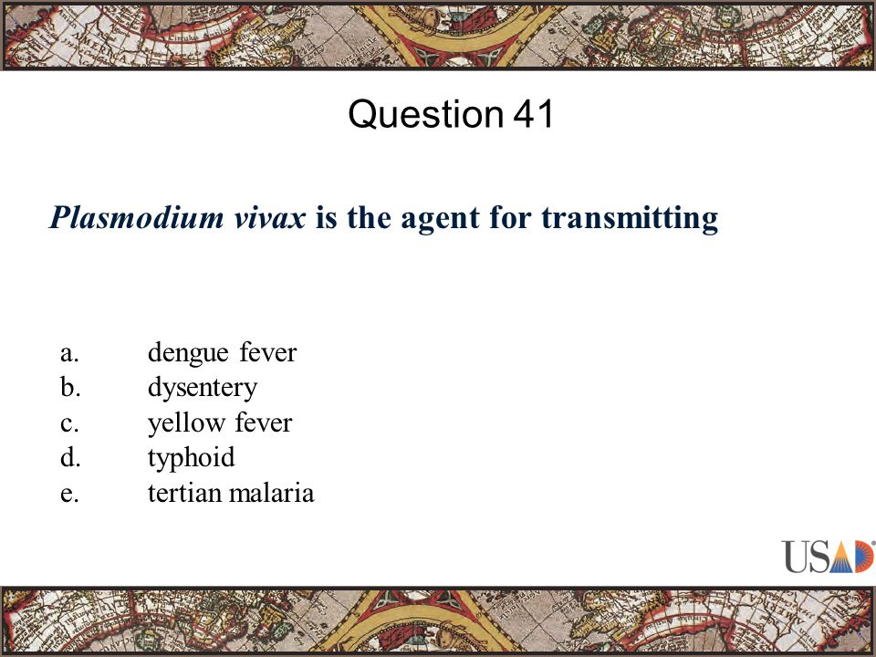 Plasmodium vivax is the agent for transmitting Question 41 a.dengue fever b.dysentery c.yellow fever d.typhoid e.tertian malaria