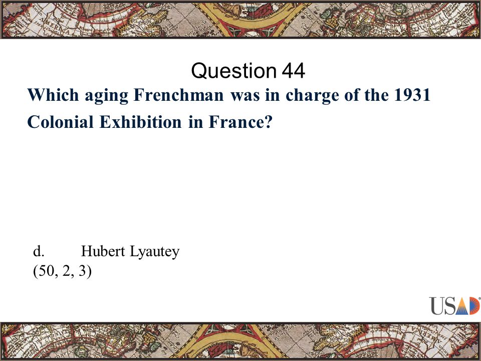 Which aging Frenchman was in charge of the 1931 Colonial Exhibition in France.