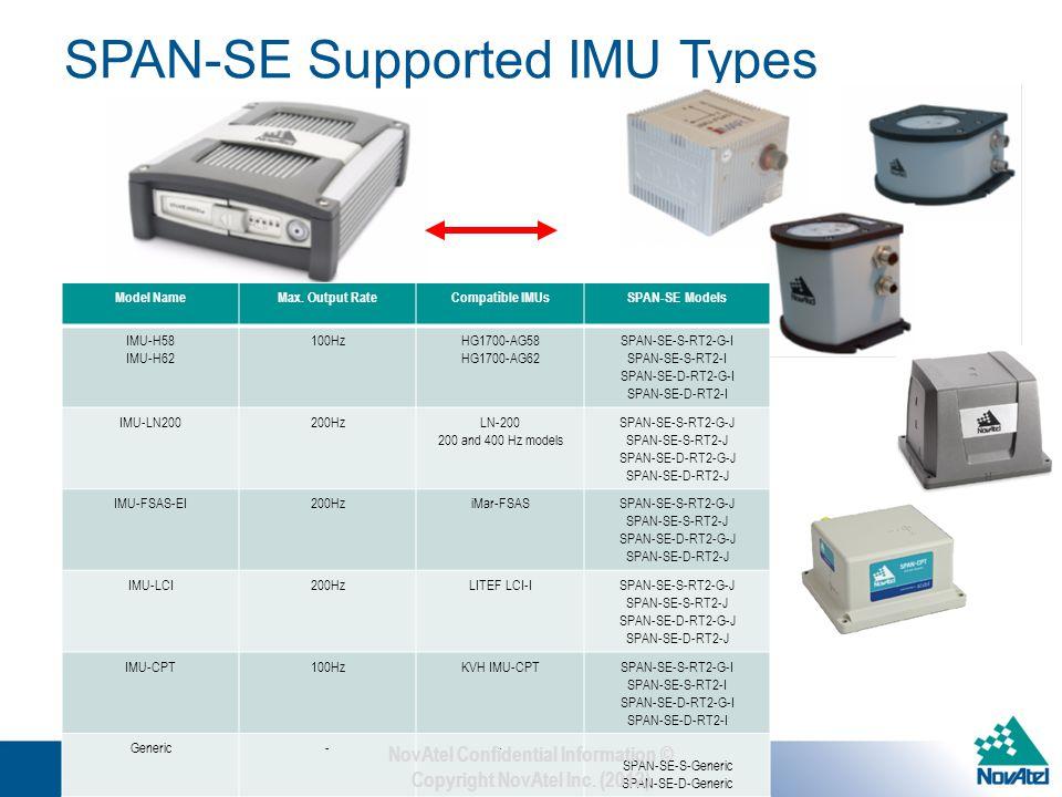 SPAN-SE Supported IMU Types iMAR-FSAS LN-200 HG-1700 SPAN-SE Model NameMax.