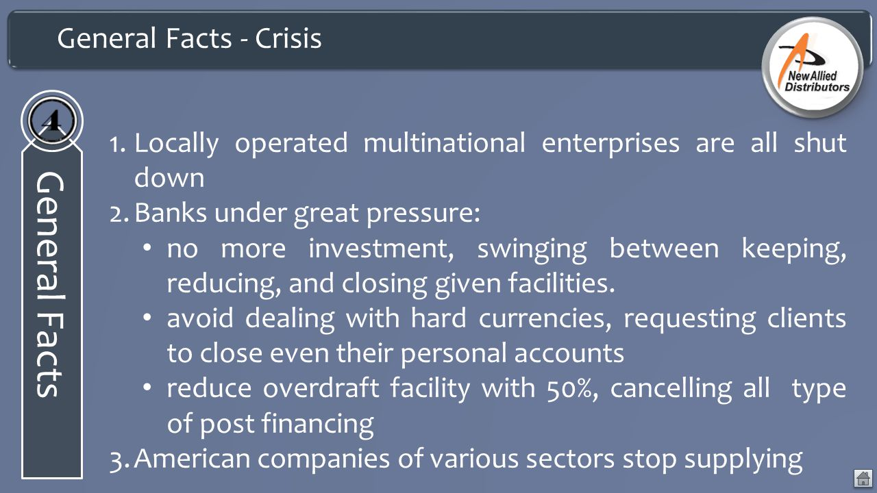 General Facts - Crisis General Facts 1.Locally operated multinational enterprises are all shut down 2.Banks under great pressure: no more investment, swinging between keeping, reducing, and closing given facilities.