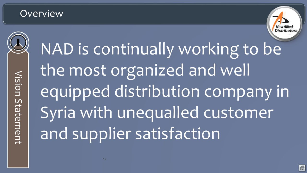 Vision Statement 14 NAD is continually working to be the most organized and well equipped distribution company in Syria with unequalled customer and supplier satisfaction