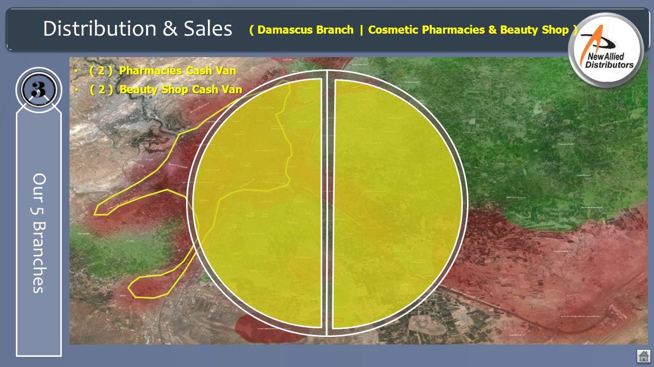 Distribution & Sales Our 5 Branches ( Damascus Branch | Cosmetic Pharmacies & Beauty Shop ) ( 2 ) Pharmacies Cash Van ( 2 ) Pharmacies Cash Van ( 2 )