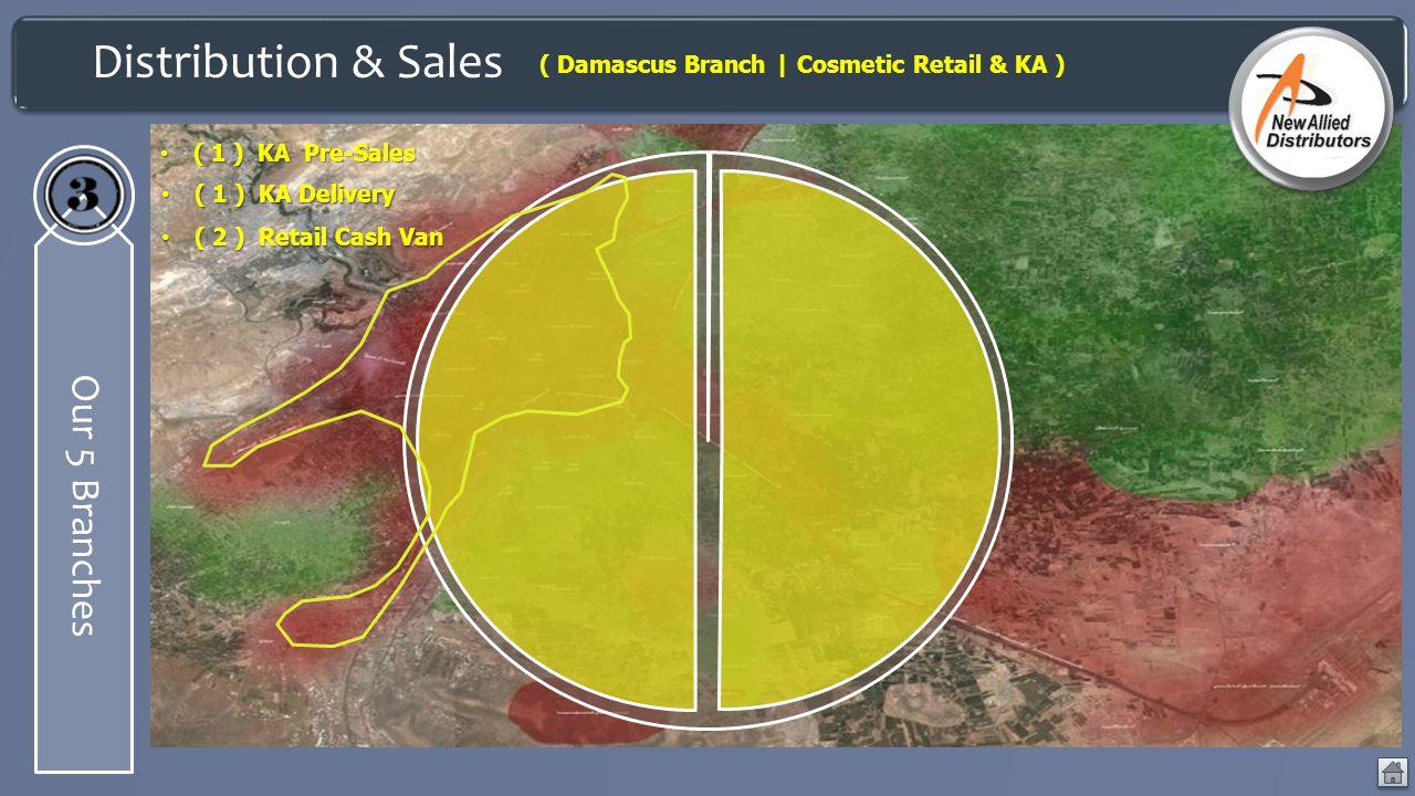 Distribution & Sales Our 5 Branches ( Damascus Branch | Cosmetic Retail & KA ) ( 1 ) KA Pre-Sales ( 1 ) KA Pre-Sales ( 1 ) KA Delivery ( 1 ) KA Delive