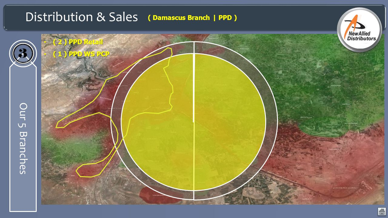 Distribution & Sales Our 5 Branches ( Damascus Branch | PPD ) ( 2 ) PPD Retail ( 2 ) PPD Retail ( 1 ) PPD WS PCP ( 1 ) PPD WS PCP