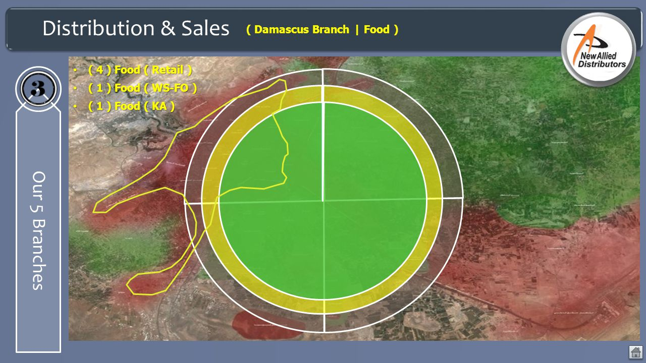 Distribution & Sales Our 5 Branches ( Damascus Branch | Food ) ( 4 ) Food ( Retail ) ( 4 ) Food ( Retail ) ( 1 ) Food ( WS-FO ) ( 1 ) Food ( WS-FO ) (