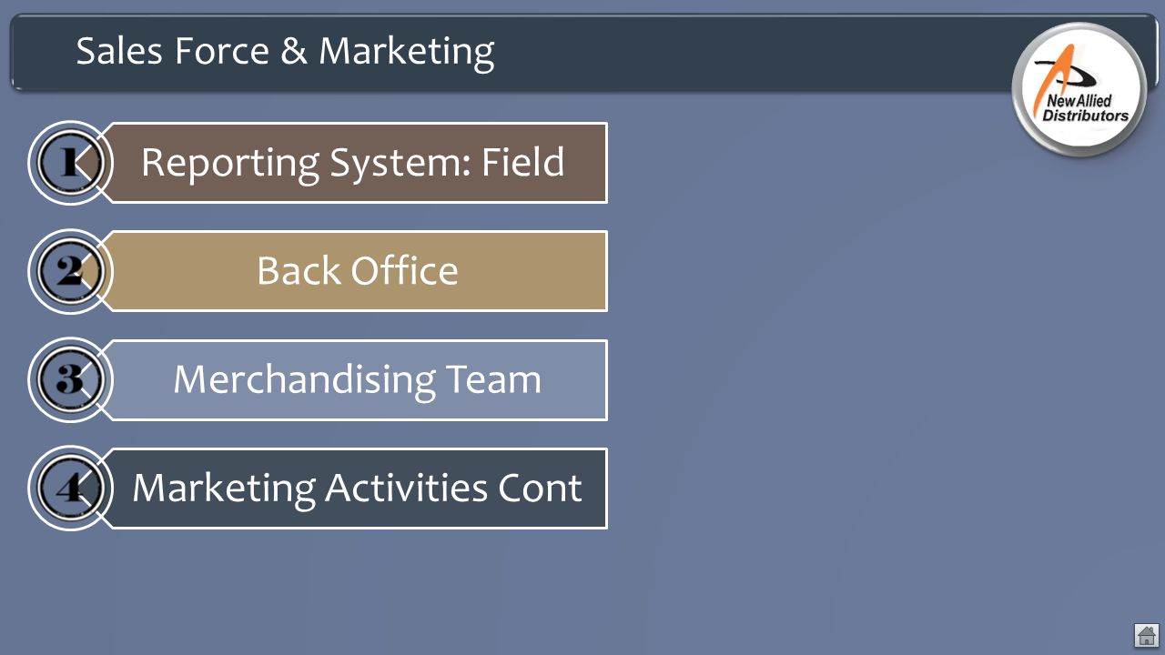 Sales Force & Marketing Reporting System: Field Back Office Merchandising Team Marketing Activities Cont