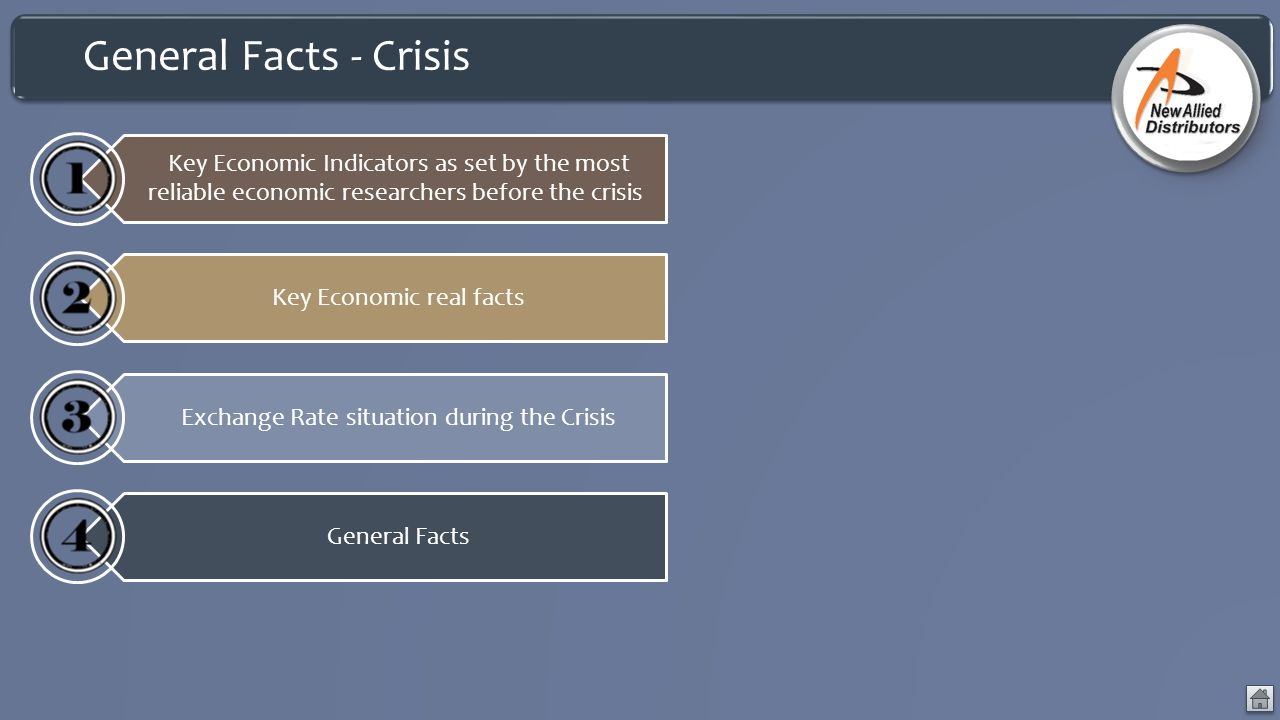 General Facts - Crisis Key Economic Indicators as set by the most reliable economic researchers before the crisis Key Economic real facts Exchange Rate situation during the Crisis General Facts
