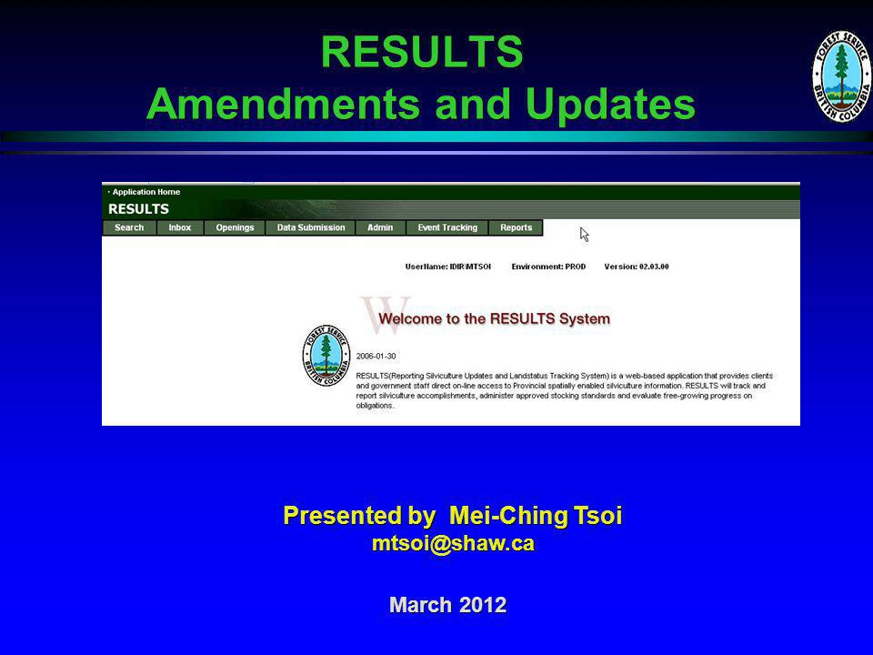 RESULTS – Amendment and Updates Thank You!